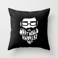 andreas preis Throw Pillows featuring ANDREAS by Riceveryday