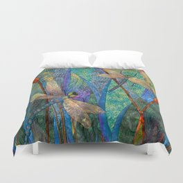 Colorful Dragonflies Duvet Cover