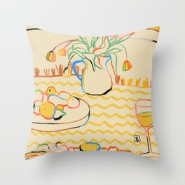 YELLOW TULIPS, WINE AND CHEESE Throw Pillow