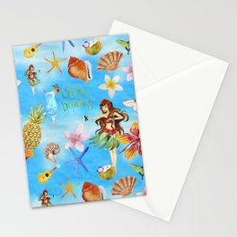 Aloha Beach Party Pattern with Hulagirl Stationery Cards
