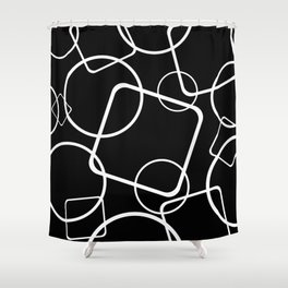 Black and white minimalist geometric abstract Shower Curtain