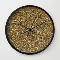 gold glitter Wall Clocks featuring Gold Glitter by Katieb1013