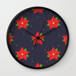 Poinsettia Christmas Pattern Wall Clock