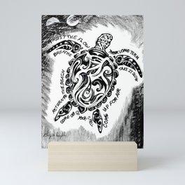 """'Honu Wisdom"""" Hawaiian Sea Turtle, Ocean Original Art Drawing Mini Art Print"""