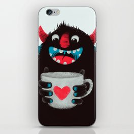 Demon with a cup of coffee (contrast) iPhone Skin