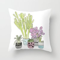 cactus Throw Pillows featuring Cactus by Olivia James
