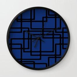 Retro Modern Black Rectangles On Deep Blue Wall Clock