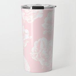 Pink Roses in Flamingo Pink Travel Mug