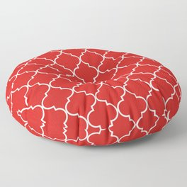 Red Quatrefoil Pattern in Candy red and white. Floor Pillow