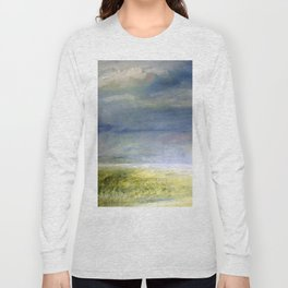 Sea Shore Watercolor Ocean Landscape Nature Art Long Sleeve T-shirt