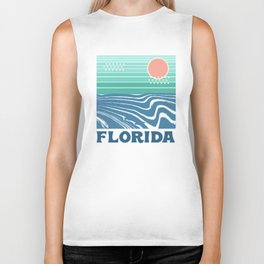 Florida - retro travel poster 70s throwback minimal ocean surfing vacation beach Biker Tank