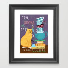 Tea, Books and Cats Framed Art Print
