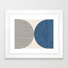 Semicircle Stripes - Blue Framed Art Print