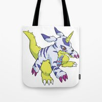 digimon Tote Bags featuring Gabumon by Jelecy