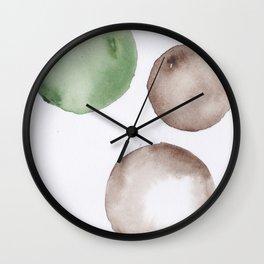 5|181104 Australian Leaf Green & Brown Earth Orbs | Watercolour Circle Abstract Geometrical Wall Clock