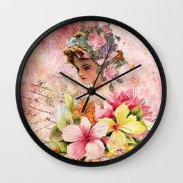 Vintage Woman Neck Gator Floral Vintage Lady Wall Clock