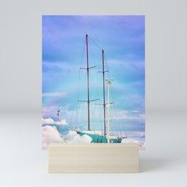 Floating ship in the cloud Mini Art Print