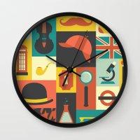 sherlock Wall Clocks featuring Sherlock by Ariel Wilson