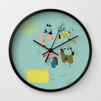 moonrise Wall Clocks featuring Moonrise by la belette rose