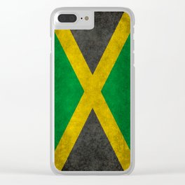 Jamaican flag, Vintage retro style Clear iPhone Case