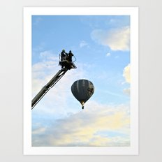 Firemen on their hoist at the Tall Ships Race Waterford 2011 Art Print