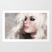 snow white Art Prints featuring snow by Fernanda Suarez