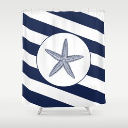 Nautical Starfish Navy Blue & White Stripes Beach Shower Curtain