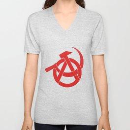 Anarcho-Communist Red Unisex V-Neck