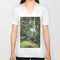 pixies V-neck T-shirts featuring Unicorn & Pixies by Mike Lowe