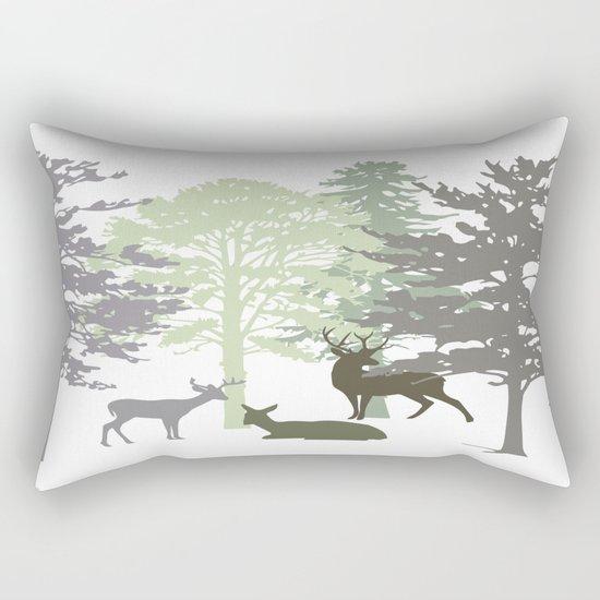 Morning Deer In The Woods No. 1 Rectangular Pillow