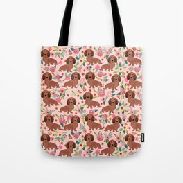Long Haired Dachshund red coat pet friendly must have gifts for home dog lover Tote Bag