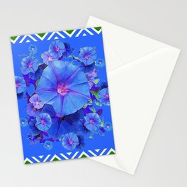 Baby Blue Morning Glories Green Floral Art Stationery Cards