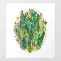 cacti Art Prints featuring Cacti by Gaby D'Alessandro