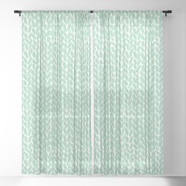 Hand Knit Zoom Mint Sheer Curtain