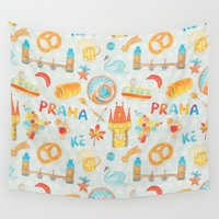 prague Wall Tapestries featuring Adorable Prague by Olcha Guu