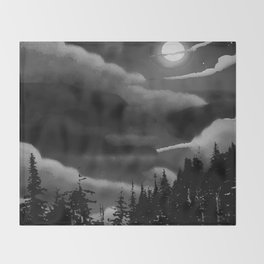Bright Cloudy Night Sky in Black and White Throw Blanket
