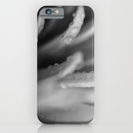Droplets on Petals in Black and White Botanical / Nature / Floral Photograph iPhone Case
