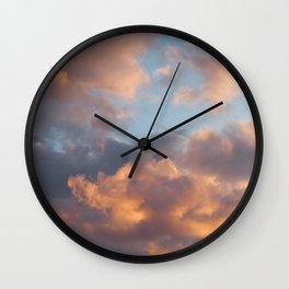 Peach Clouds Wall Clock