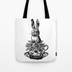 Rabbit in a Teacup | Black and White Tote Bag