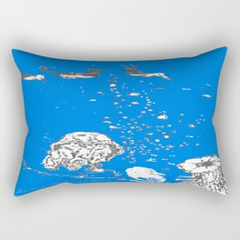 Two Tailed Duck and Jellyfish Royal Brilliant Blue Rectangular Pillow