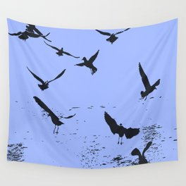 Silhouette Of A Flock Of Seagulls Over Water Vector Wall Tapestry