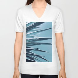 Palm Rays - Duotone Black and Teal Unisex V-Neck