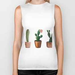 Three Cacti On White Background Biker Tank