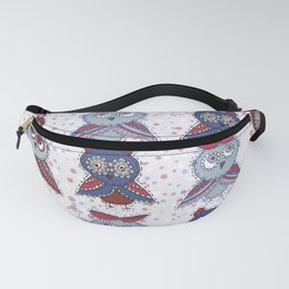 doodle owls blue red gray brown Fanny Pack