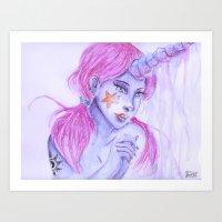 Magical Unicorn Lady.  Art Print