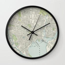 Vintage Map of New Haven Connecticut (1901) Wall Clock