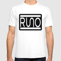 RUNO Bordered Design SMALL White Mens Fitted Tee