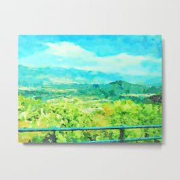 Travel by train from Teramo to Rome: landscape with mountain Metal Print