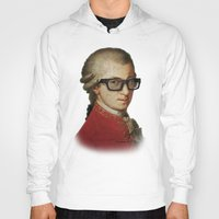 mozart Hoodies featuring Funny Hipster Mozart by Paul Stickland for StrangeStore