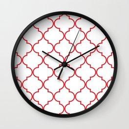 Quatrefoil - Rose Red Wall Clock
